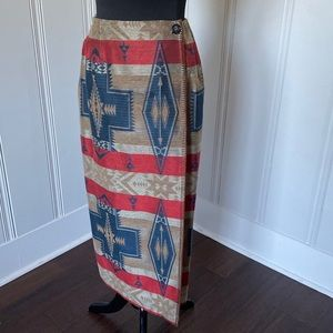VTG Harris Wallace Southwest Print Wrap Skirt 10